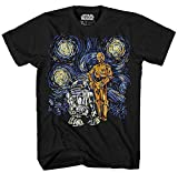 STAR WARS C-3PO R2-D2 C3PO R2D2 Funny Van Gogh Starry Night Droids Painting Force Awakens Last Jedi Adult Men's Graphic Tee T-Shirt (Black, Small)