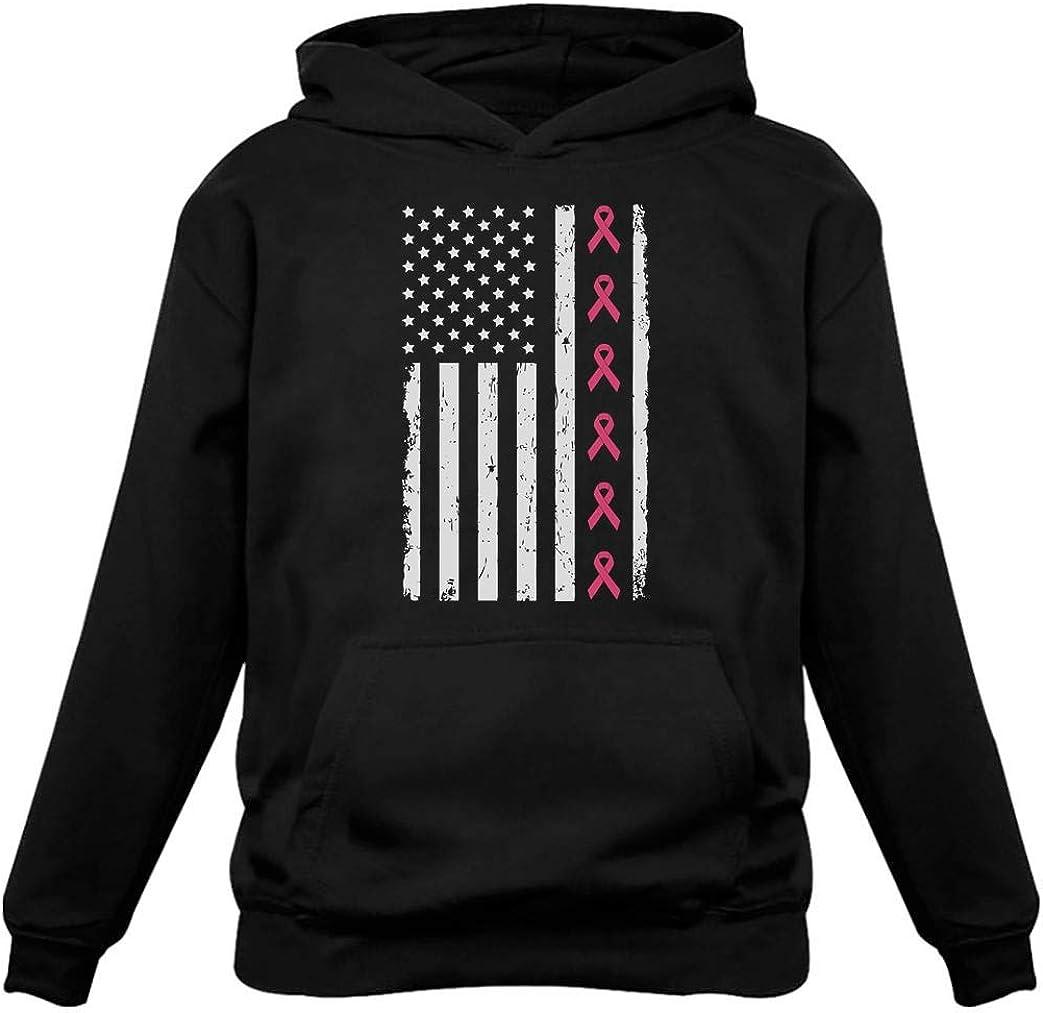 Breast Cancer Awareness Pink Ribbons American Flag Women Hoodie