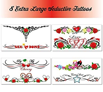 8 Extra Large Sexy Naughty Temporary Tattoos for Women Ladies - Adult Fun for Lower Back Legs Arms Stomach