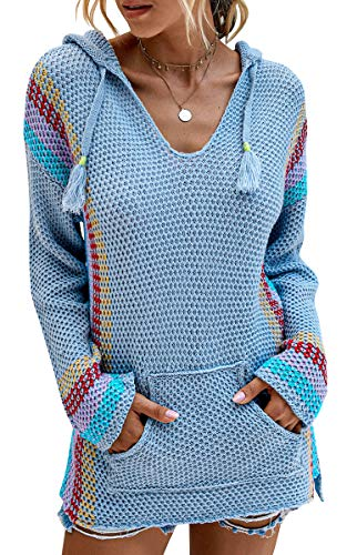 Spec4Y Hoodie Damen Langarm V-Ausschnitt Kordelzug Kapuzenpullover Gestreift Farbblock Lässige Pullover Sweatshirts mit Taschen Blau Small