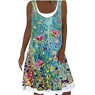 Women's Summer Dress Midi Sleeveless Vest Dresses Casual Round Neck Loose T-Shirt Tops Dress Plus Si...
