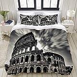 KISSENSU Coliseo Roma Italia,Juego de Ropa de Cama con Funda nórdica de Microfibra y 2 Funda de Almohada - 220 x 240 cm