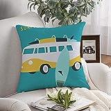 Throw Pillow Cover Automóvil Turista Descanso Bus Surfers Verano Hawaii Turistas Estilo de vida Diseño de vacaciones vintage Retro Cojines decorativos Funda para sofá Sofá Dormitorio Ropa de cama para