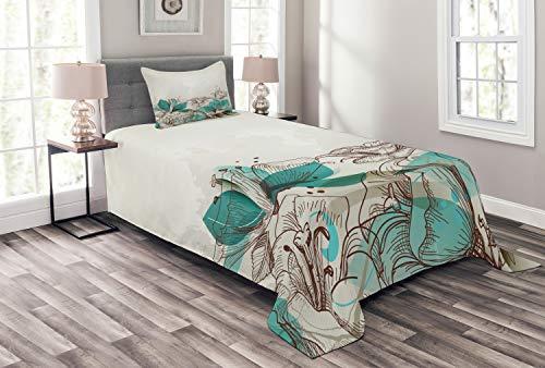ABAKUHAUS Turkoois Bedsprei, Retro Hibiscus Art, Decoratieve Gewatteerde 2-delige Spreiset met 1 Kussensloop, 170 x 220 cm, beige Teal