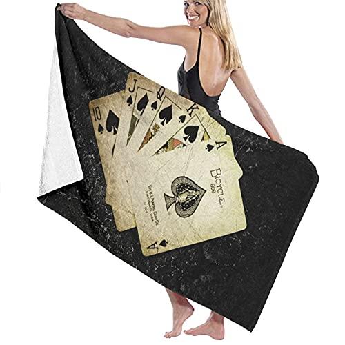 TISAGUER Toalla de baño Cartas Poker El Juego Arte Digital Ace of Spades Juego de Cartas Fondo Oscuro Jugar Suave Hoja de baño de para el hogar,los baños,la Piscina Toallas Baño Toalla de Playa