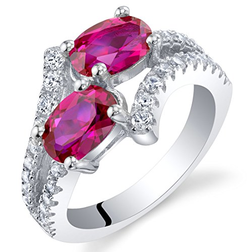 Forever Us Two Stone Created Ruby Sterling Silver Ring Size 6