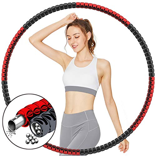 TvvaaFog [Aktuellste Fitness Hoop Exercise Hoop Erwachsene,Reifen Hoop Rostfreier Stahl 8 Abnehmbare Teile,Gewichten Einstellbar von 0.9kg bis 3kg,Exercise Hoop Reifen für Fitness Training