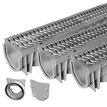 Source 1 Drainage Trench & Driveway Channel Drain with Galvanized Steel Grate - 3 Pack