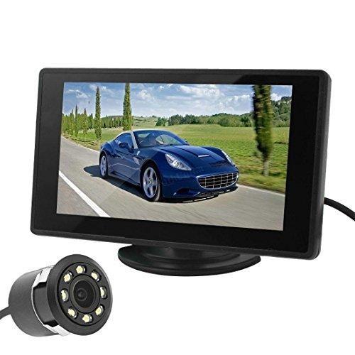 stationnement reliée – BW 10,9 cm TFT couleur de voiture moniteur HD et 8 LED Vision de nuit véhicule Caméra de recul Kits