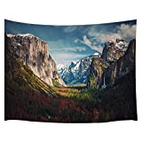 JAWO Nature Tapestry, Yosemite National Park Valley Summer Landscape from Tunnel View Wall Tapestry, Tapestry Wall Hanging for Bedroom Living Room Dorm 71X60Inches