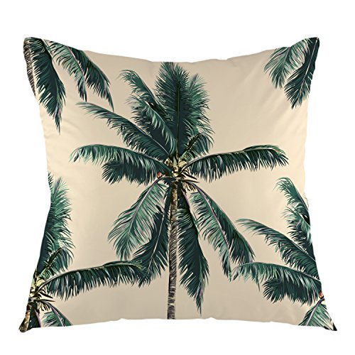 oFloral Palm Tree Throw Pillow Cover Square Cushion Case for Couch Sofa Home Bedroom Living Room Decorative Pillow Sham 18 x 18 Inch