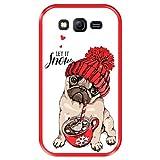 Hapdey Funda Roja para [ Samsung Galaxy Grand Lite - Grand Neo - Neo Plus ] diseño [ Adorable Perrito Beige Pug, Let it Snow ] Carcasa Silicona Flexible TPU