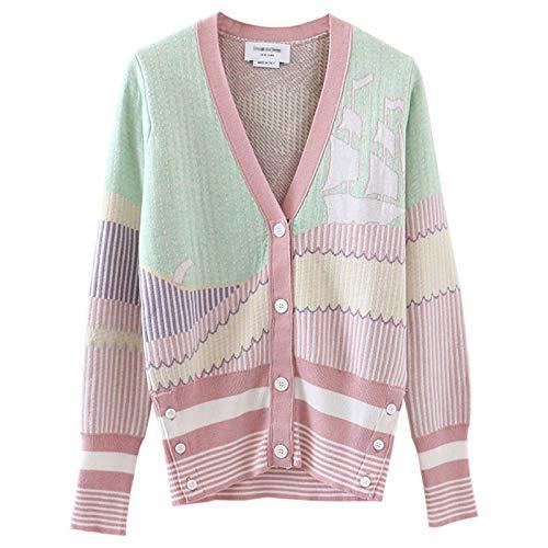 JOMSK Cárdigan Casual Otoño e Invierno Contraste Color Sailing Wool Cardigan Chaqueta de Punto Suéter de Punto Color a Juego Top a Rayas Mujeres (Color : Pink, Size : Small)