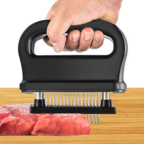 48 Blades Meat Tenderizer Stainless Steel Ultra Sharp Needle Blades Meat Tenderizer Tool | Turn Tough amp Hard Meats Into Tender Buttery Goodness | Great for chicken Steak black