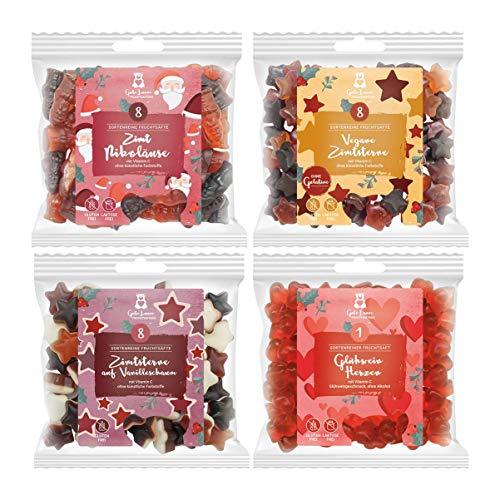 naschlabor Paket Fruchtsaftbär Weihnachten 2019 | hochwertige Honigbär Fruchtgummis glutenfrei | 4 x 150g volle Qualität, die man schmeckt | süße Feinkost-Geschenke zu Weihnachten