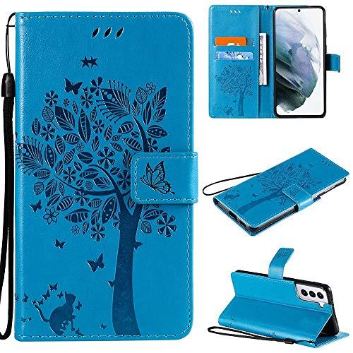 Happy-L Funda para Samsung Galaxy S21 Plus, diseño de gato y árbol en relieve de piel sintética, funda tipo cartera con soporte para tarjetas y correa de mano (color azul)