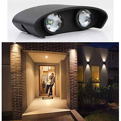 Yosoan LED-Wandleuchte Up&Down Wandleuchte Außenwandleuchte inkl. 4x 1W Natürliches Weiß Lichtstrahl Leuchtmittel Außenleuchte Außenlampe Wandlampe für Innen und Außen (1W 4000K)