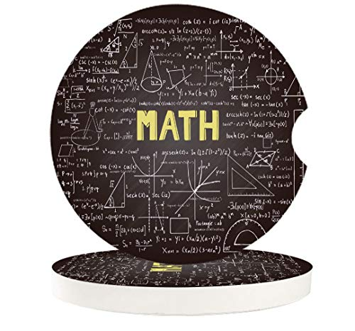 Mathematics Classroom 4 Pcs Car Coasters Absorbent Ceramic for Drink - Dark Blackboard Word Math Equations Geometry Axis - Best Interior Decorative Cupholder for Car Accessory