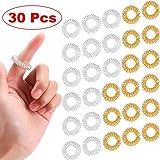 30 Stück Massage Ring Stachelig Sensorische Fingerringe, Stachelig Finger Ring/Akupressur Ring Set für Jugendliche, Erwachsene, Leise Stress Reduzierer und Massager (Gold, Silber)