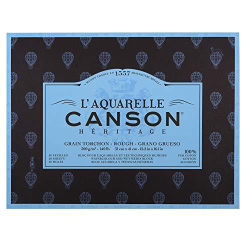 canson L'Aquarelle Canson Heritage Pasted Block 4 Sides 20 Sheets Grain Tea Towel Rough Texture 31 x 41 cm