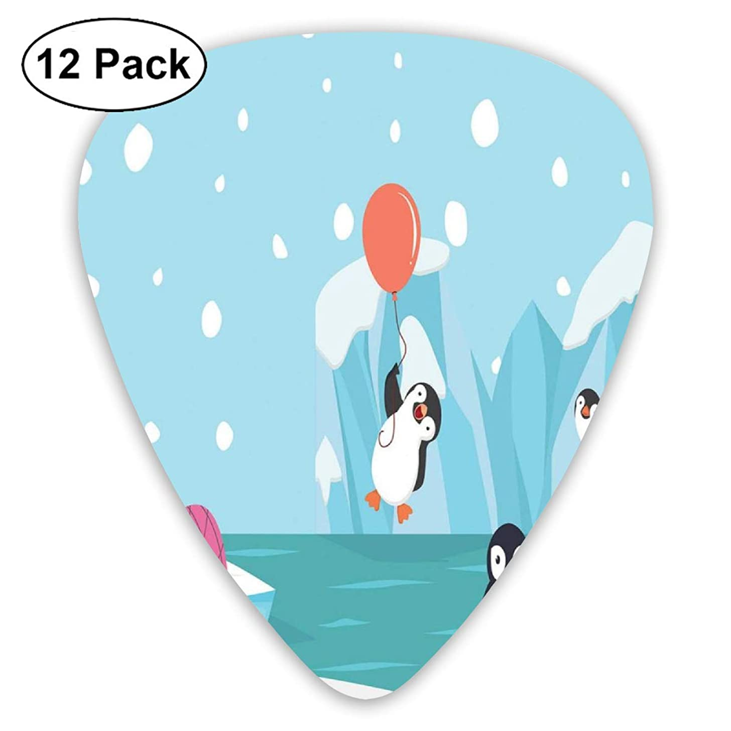 Celluloid Guitar Picks - 12 Pack,Abstract Art Colorful Designs,Lovely Penguins On Ice Glaciers Cute Funny Animal Characters Print,For Bass Electric & Acoustic Guitars.