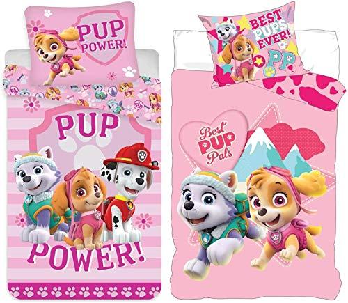 rainbowFUN.de Juego de ropa de cama infantil de la Patrulla Canina, 2 unidades, para niñas, 100 x 135 cm, 40 x 60 cm, diseño de Skye
