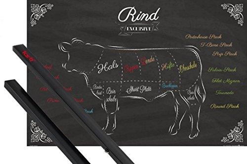 1art1 Kochkunst Poster (91x61 cm) Teilstücke Vom Rind Inklusive EIN Paar Posterleisten, Schwarz