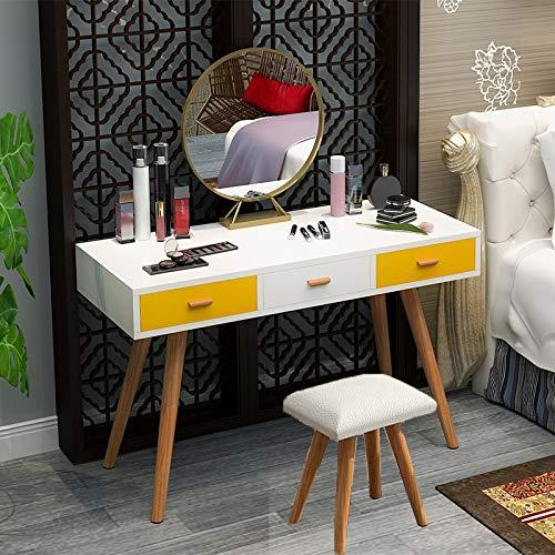 PNYGJDSZT Tocador Moderno, Tres cajones Un tocador de Espejo de Maquillaje, tocador de Dormitorio Taburete de Mesa de Maquillaje for Damas (Color : A)