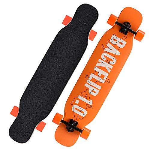 Patinetas de Longboard de Madera de Arce de 108 cm Completas para Freestyle, Movimientos de Flores Planas de Scooter, Profesionales Principiantes Adolescentes Adultos