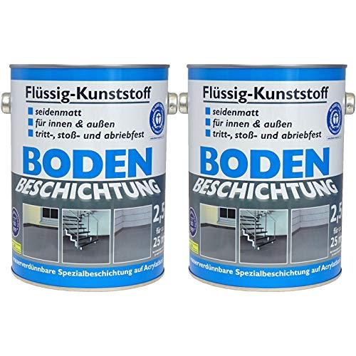 Wilckens Bodenfarbe Flüssig Kunststoff RAL 7001 Silbergrau 2 Dosen á 2,5 l, Beton Bodenbeschichtung, Fußbodenfarbe für innen und außen