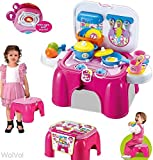 WolVol 2-in-1 Folding Kitchen Cooking Set - Pretend Kitchen Playset w/ Lighted Stove, Pots,...
