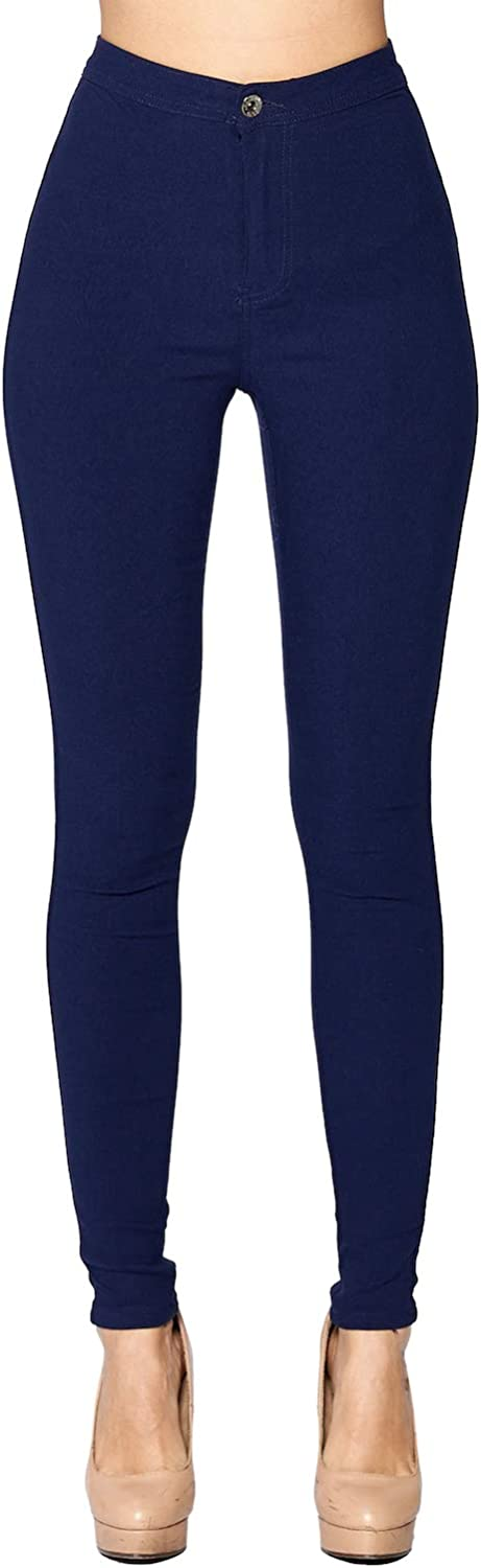 bluee Age Women's High Waist Super Stretch Jean Pants Solid color