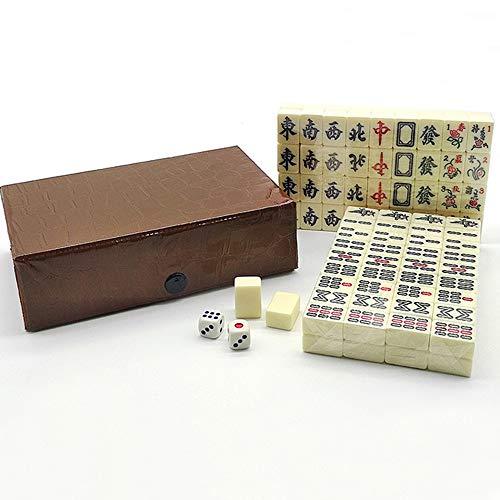Mini Mahjong,Travel Mahjong Portable Chinese Version Game Set Acrylic 144 Tiles Family Enjoy