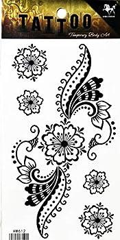 PP TATTOO 1 Sheet Sunflower Peacock Fashionable Henna Temporary Tattoos Make up Neck Shoulder Upper arm Thigh Waterproof Stickers for Men Women Sexy Body Art