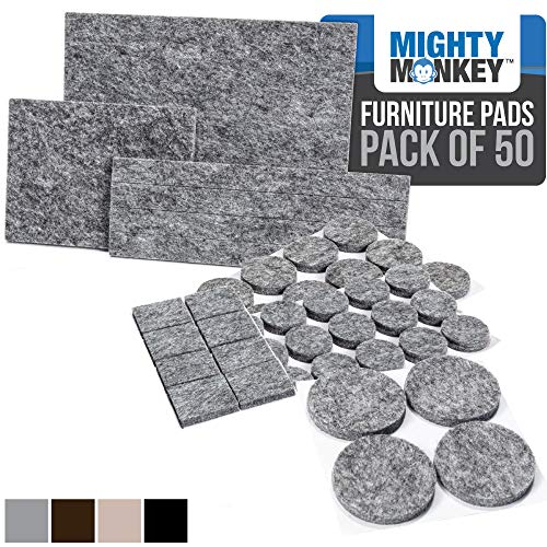 MIGHTY MONKEY Felt Furniture Gripper Pads, 50 Pack, Easy Glide, Stays on Furniture, Pad Prevents Scratches on Floors, Prescored Adhesive Strips Secure to Furniture, Heavy Duty, Protects Floor, Gray
