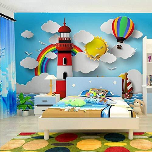 Hbbhbb Kinderzimmer Wallpaper 3D Leuchtturm Regenbogen Sonne Heißluftballon Kinder Cartoon Fototapete Wandbild-280(H)*400(W) Cm