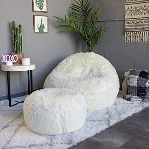 Air Candy Mongolian Faux Ivory Fur Inflatable Chair, Accent Contemporary Lounge Chair Decor for Living Room, Bedroom, Dorm Room, Patio, Vanity, Kids, Teens, Adults, Machine Washable
