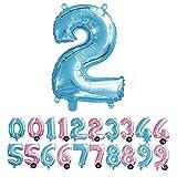 Haioo Globo Número de Cumpleaños en Metalizado Ideal para Fiesta de cumpleaños y Aniversarios Hinchable y Deshinchable (Azul 2)