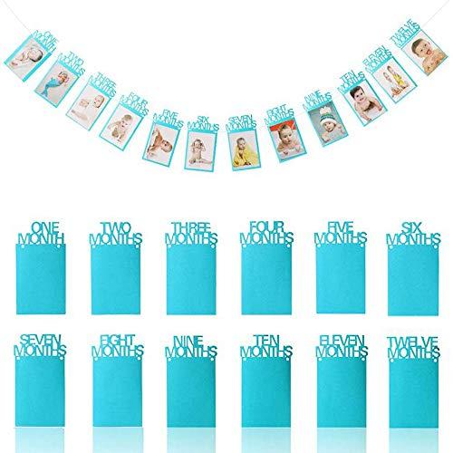 OOTSR 1er Anniversaire Photo bannière, bébé 1-12 Mois Photo Bannière Guirlande pour Premier...
