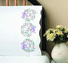 Tobin 232036 Stamped Pillowcase Pair Stamped Cross Stitch Kit for Embroidery, 20 by 30-Inch, Flower Cats