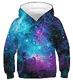 uideazone Sudaderas Niño 3D Impresión Galaxia Adolescentes Sudaderas con Capucha Manga Larga Hoodie Pullover