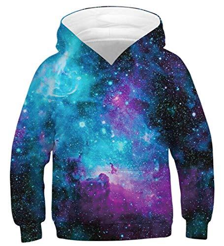 Fanient Jungen Mädchen 3D Drucken Coole Galaxy Hoodies Pullover Sweatshirts Kapuzenpullover Langarm 6-7T