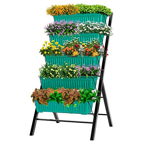VIVOSUN 4FT Vertical Raised Garden Bed 5 Tier Planter Box Perfect to Grow Flowers, Vegetables, Herbs, for Outdoor and Indoor Gardening
