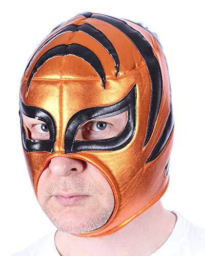 Mexikanische Wrestling Maske Bronze-Orange. Einheitsgröße. Rückseitige Schnürung