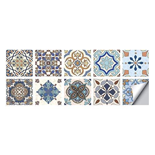 Homoyoyo 10 Piezas Mandala Pegatinas Decorativas Vinilo Impermeable Pegatina Geométrica para Azulejos Pelar Y Pegar Calcomanías para Salpicaduras Autoadhesivas Mural de Escalera para