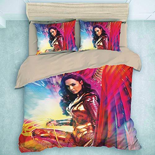 Wonder Woman - Juego de ropa de cama infantil con impresión de película de 3 piezas, funda nórdica suave y mullida y 2 fundas de almohada,WW84