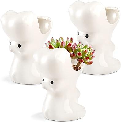 Tosnail 3 Pack Ceramic Succulent Plant Pots with Drainage Hole, Hippo Shaped Cactus Flower Plant Planter Porcelain Animal Pots for Plants