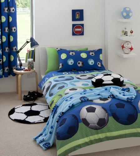 Catherine Lansfield Stoff mit Fußball-Design, für Kinder, blau, Einzelbett
