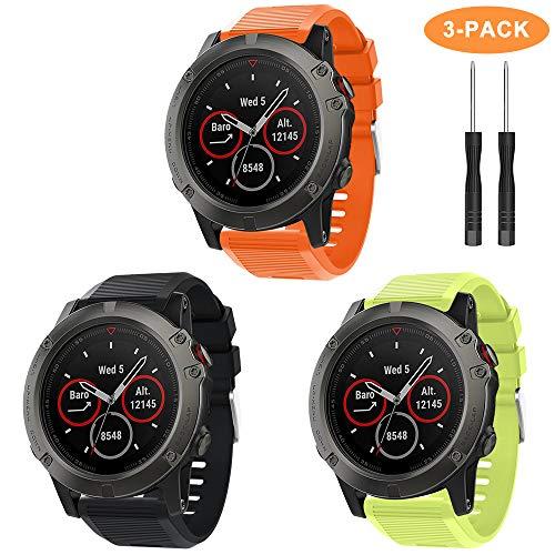 YASPARK Bracelet Fenix 5X Montre, Silicone Bracelet Remplacement Rapide 26mm Réglable Sport Bande pour Fenix 5X/Fenix 5X Plus/Fenix 6X/Fenix 6X Pro/Fenix 3/Fenix 3 HR