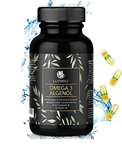 Luondu Omega 3 Vegan [ 1500 mg ] - 90 Kapseln - Premium Omega 3 Fettsäuren Algenöl 525 DHA + 250 EPA pro Tagesdosis I 100{7791c97484153dbf20081338cab0029e7bf09c37663b6702ad85b0a9e2a55255} pflanzlich - Unterstützt normale Gehirnleistung & Sehkraft
